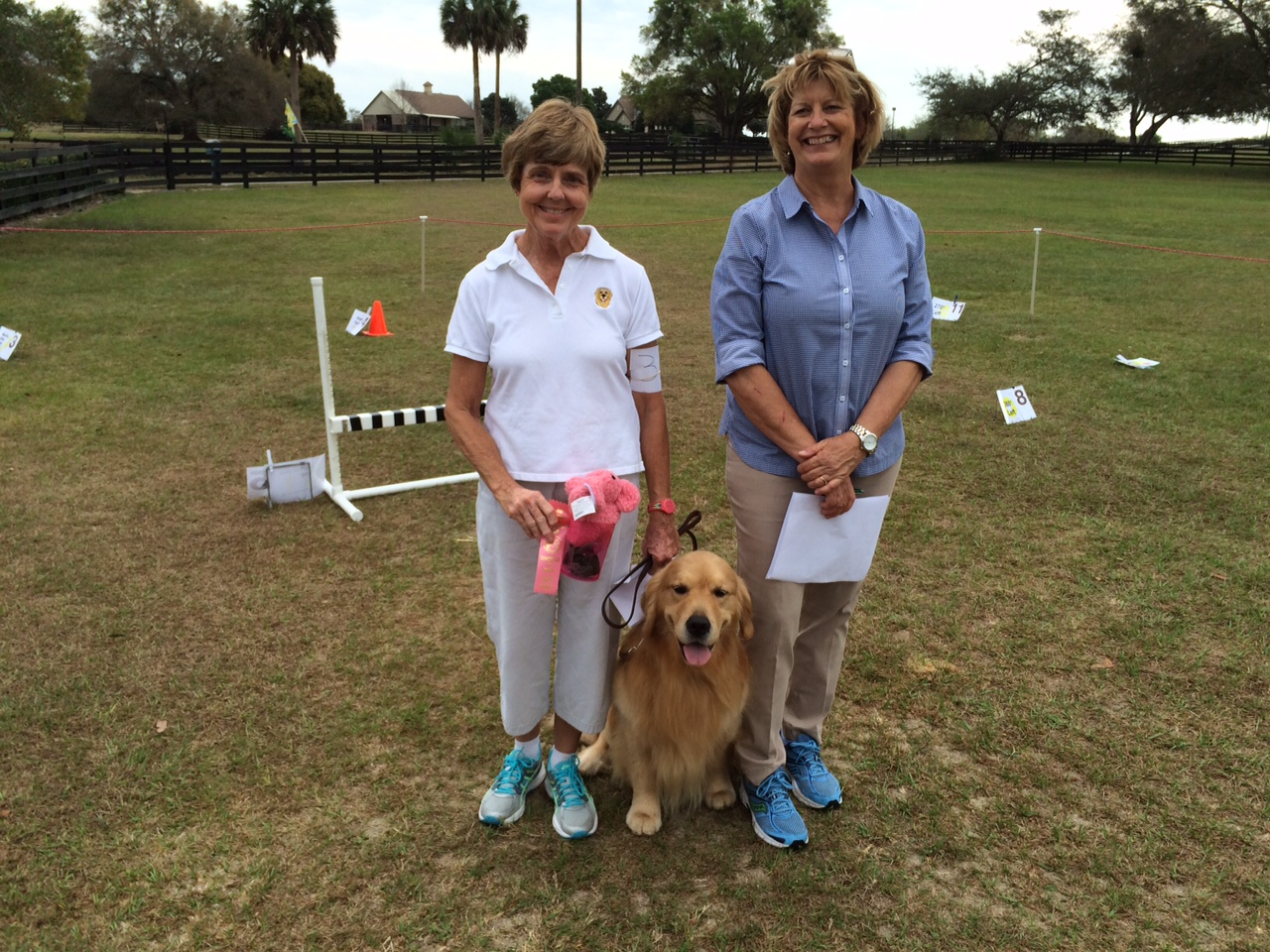 Ann Rowe with her Golden Retriever Mogul (CH Magik's Ice on the Slopes). Judge Ellen Barktus (right).